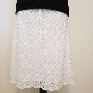 Max Edition White Lace Midi Skirt